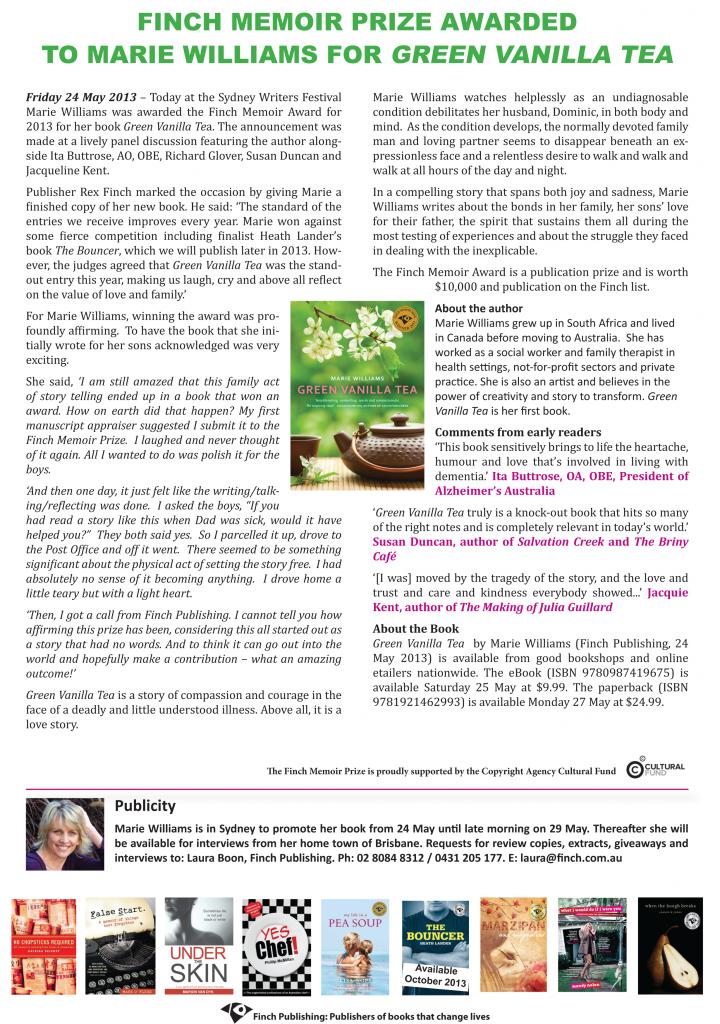 Finch Memoir Prize 2013 press release final