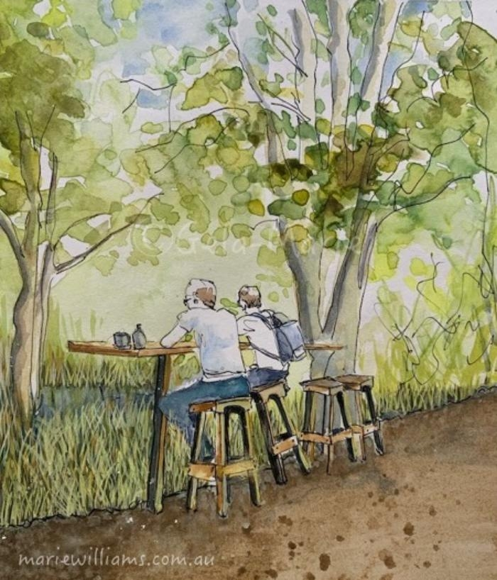 Sketching cafe scenes by Gela-Marie Williams