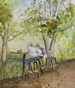 Sketching cafe scenes by Gela-Marie Williams