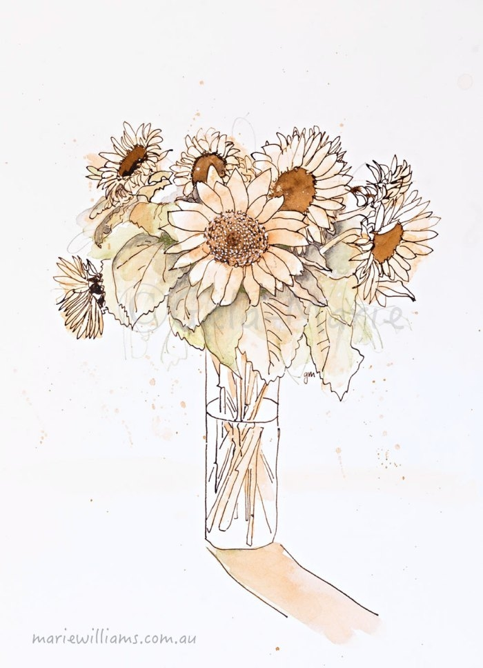 Sunflowers. Botanical art by Gela-Marie Williams