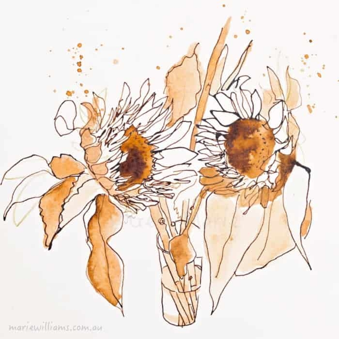 Sunflowers. Florals. Botanical art by Gela-Marie Williams
