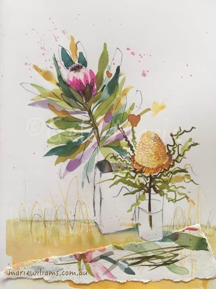 Protea Banksia still life. Botanical art Gela-Marie Williams