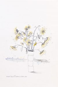Sunflowers. Botanical art by Gela-Marie Williams